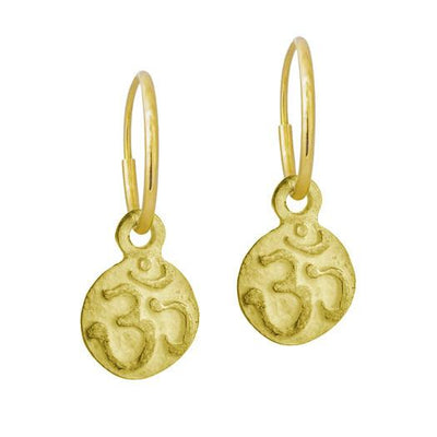 Gold Tiny Ohm • Endless Hoop Charm Earring-Brevard