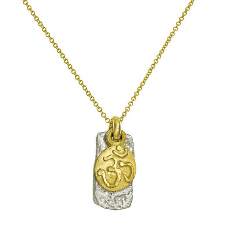 Two-Tone Ohm Tiny Layered Tablet Charm Necklace-Brevard