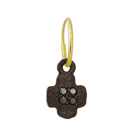 Oxidized Tiny Old Money Cruz Earring with Black Diamonds-Brevard