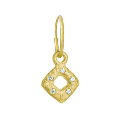 Gold Tiny Diamond Old Money with Stone • Endless Hoop Charm Earring-Brevard
