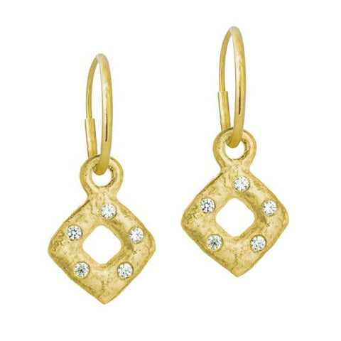 Gold Tiny Diamond Old Money Earring with Stone-Brevard