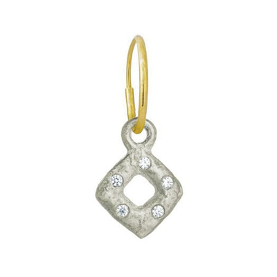 Tiny Diamond Old Money with Stone • Endless Hoop Charm Earring-Brevard