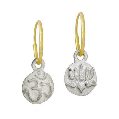 Tiny Ohm + Tiny Lotus Flower Mismatch Earring Pair-Brevard