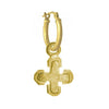 Gold Tiny Palm Cross • Latch Hoop Charm Earring-Brevard