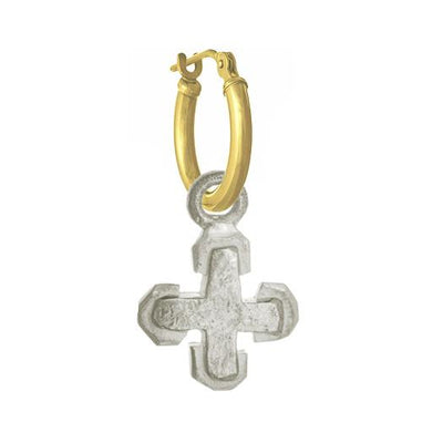 Tiny Palm Cross • Latch Hoop Charm Earring-Brevard