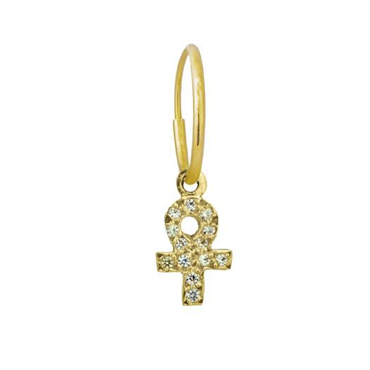 Gold Tiny Pavé Ankh • Endless Hoop Charm Earring-Brevard