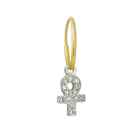 Tiny Pave Ankh Earring