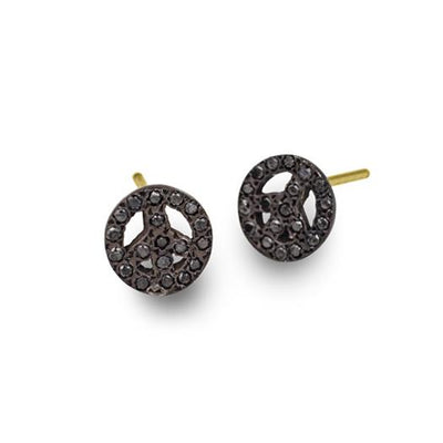 Black Diamond Pavé Tiny Peace Stud Earring-Brevard