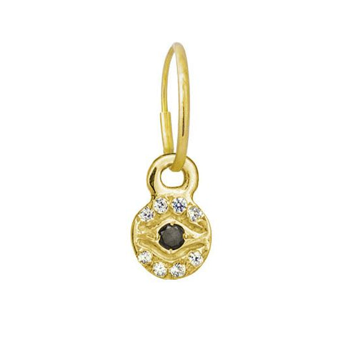 Gold Pave Tiny Eye of Horus Earring-Brevard