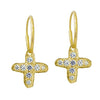 Gold Tiny Pavé Jachin Cross • Endless Hoop Charm Earring-Brevard