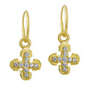 Gold Tiny Pave Palm Cross • Endless Hoop Charm Earring-Brevard