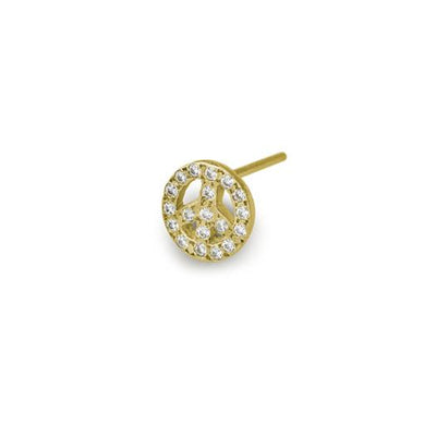 Gold Pavé Tiny Peace Stud Earring-Brevard