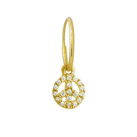 Gold Pavé Tiny Peace Earring-Brevard