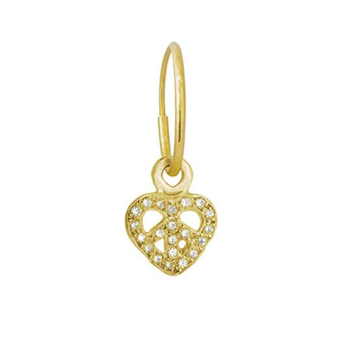 Gold Tiny Pave Peace Love Earring-Brevard