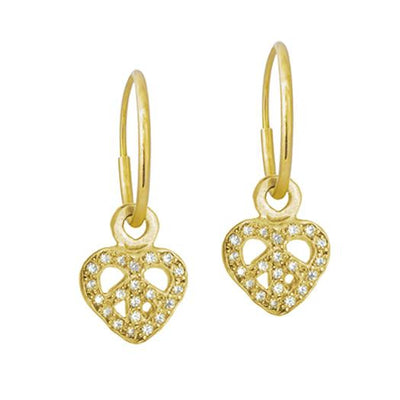 Gold Tiny Pavé Peace Love • Endless Hoop Charm Earring-Brevard