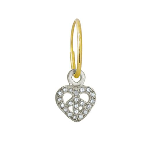 Tiny Pavé Peace Love • Endless Hoop Charm Earring-Brevard