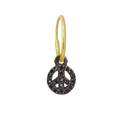 Black Diamond Pavé Tiny Peace Earring-Brevard