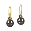 Black Diamond Pavé Tiny Peace • Endless Hoop Charm Earring-Brevard