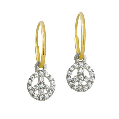 Tiny Pavé Peace Earring-Brevard