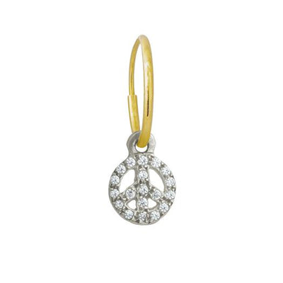Tiny Pavé Peace • Endless Hoop Charm Earring-Brevard