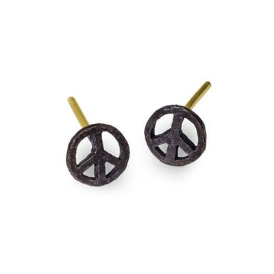 Oxidized Tiny Peace Stud Earring-Brevard