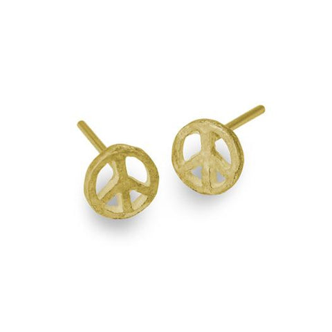 Gold Tiny Peace Stud Earring-Brevard