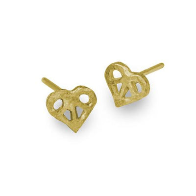 Gold Tiny Peace Love Stud Earring-Brevard