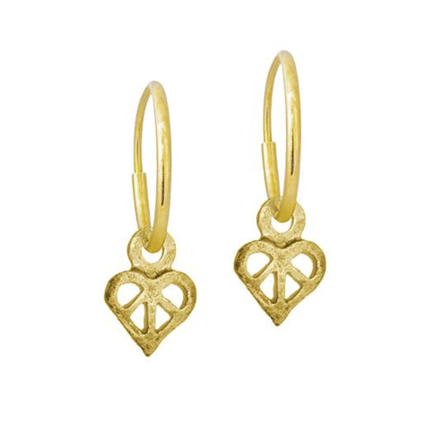 Gold Tiny Peace Love Earring-Brevard