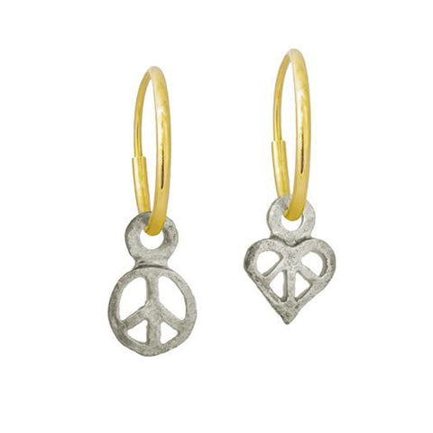 Tiny Peace + Tiny Peace Love Mismatch Earring Pair-Brevard