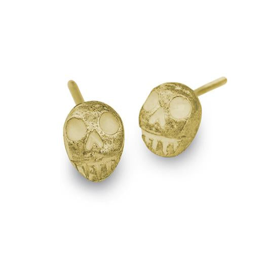 Gold Tiny Pirate Stud Earring-Brevard