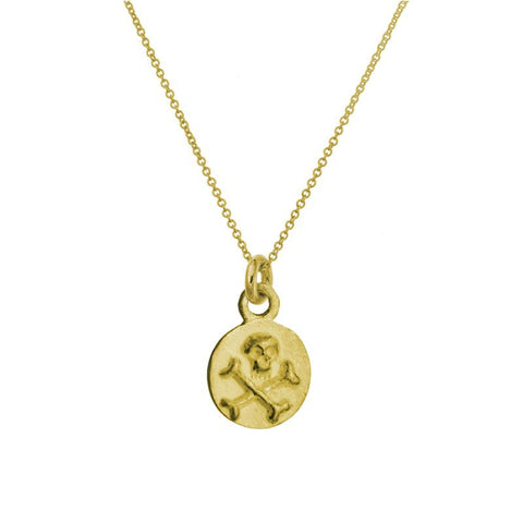 Gold Tiny Pirate Coin Necklace-Brevard