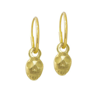 Gold Tiny Pirate • Endless Hoop Charm Earring-Brevard