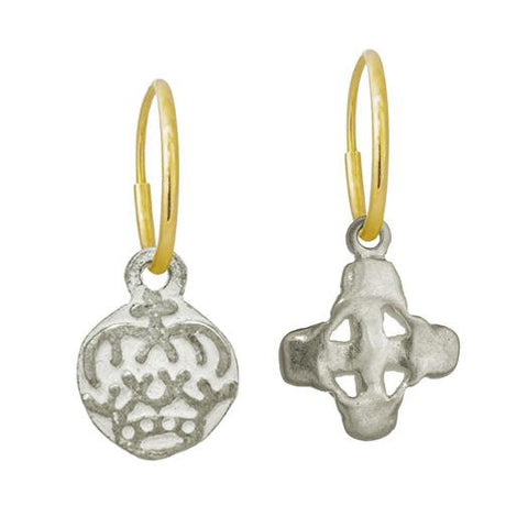 Tiny Reina Crown + Tiny Signature Cross Mismatch Earring Pair-Brevard