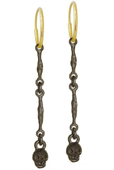 Oxidized Linked Tiny Rodger • Endless Hoop Charm Earring-Brevard