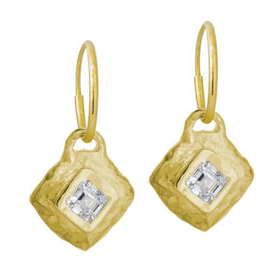 Gold Tiny Roma Diamond • Endless Hoop Charm Earring-Brevard