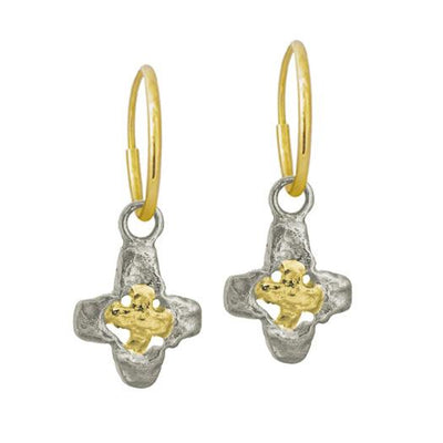Two-Tone Tiny Signature Cross • Endless Hoop Charm Earring-Brevard