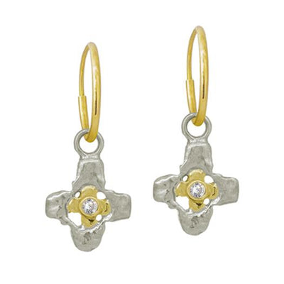 Two-Tone Tiny Signature Cross with Stone • Endless Hoop Charm Earring-Brevard