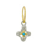 Turquoise Two-Tone Tiny Signature Cross • Endless Hoop Charm Earring-Brevard