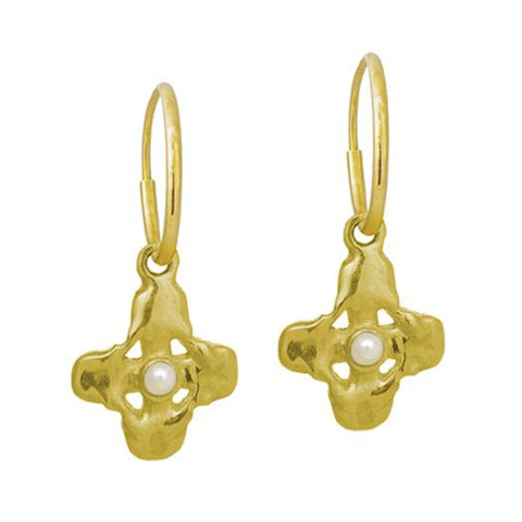 Gold Tiny Signature Cross Earring with Pearl-Brevard