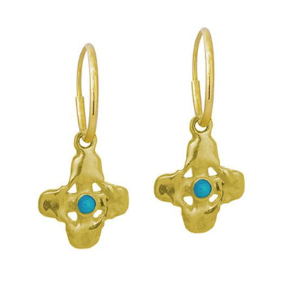 Gold Tiny Signature Cross with Turquoise • Endless Hoop Charm Earring-Brevard