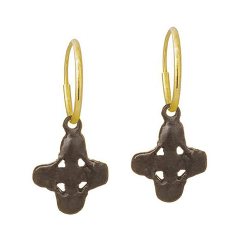 Oxidized Tiny Signature Cross Earring-Brevard