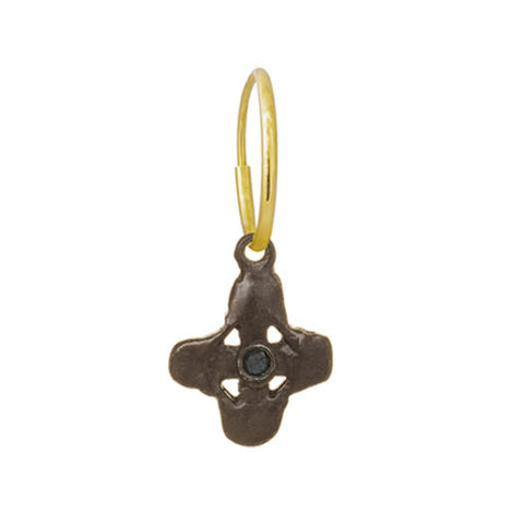 Oxidized Tiny Signature Cross Earring with Black Diamond-Brevard