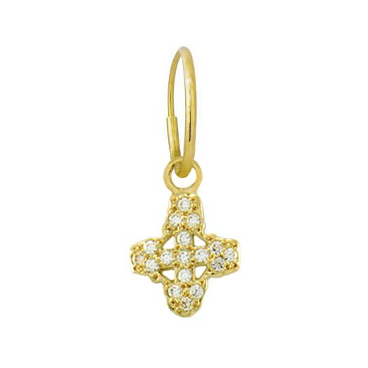 Gold Pavé Tiny Signature Cross • Endless Hoop Charm Earring-Brevard