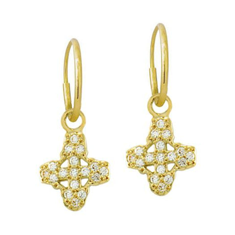 Gold Pavé Tiny Signature Cross Earring-Brevard