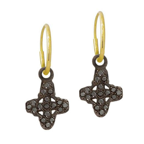 Black Diamond Pavé Tiny Signature Cross • Endless Hoop Charm Earring-Brevard