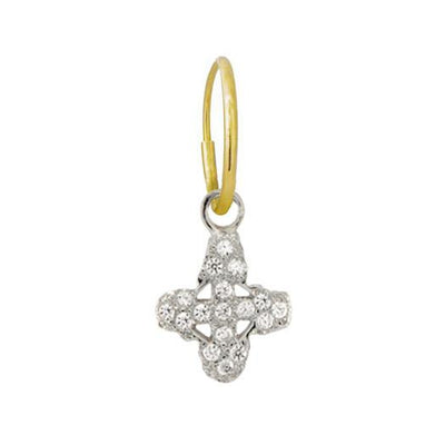 Pave Tiny Signature Cross Earring-Brevard