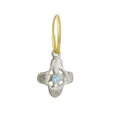Tiny Signature Cross Earring with Blue Topaz-Brevard