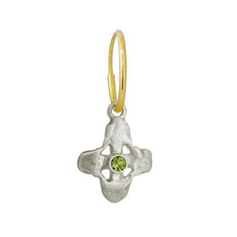Tiny Signature Cross Earring with Peridot-Brevard