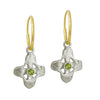Peridot Tiny Signature Cross • Endless Hoop Charm Earring-Brevard