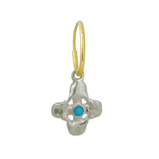 Turquoise Tiny Signature Cross Earring • Endless Hoop Charm Earring-Brevard